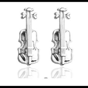 Violin Vintage Wave Pattern Cuff Link